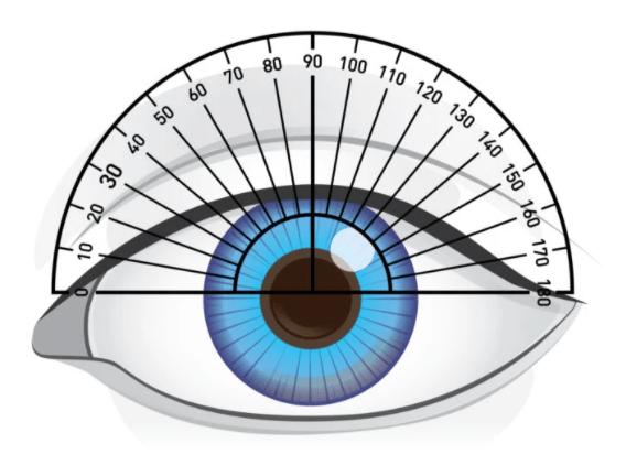 Trục của mắt đánh giá bằng cách áp thước đo góc - Quan trọng để đọc hiểu toa kính!